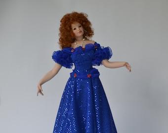 "Ball Dance Porcelain Doll 24"" Tall in a Blue Sparkle Dress"