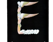 Erte Book Plate Print of Alphabet Graphic E&F. Original Vintage Art Print. Fabulous Colors. Perfect for Decorative Wall hanging.