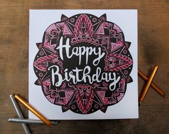 Mandala illustrated Birthday Card