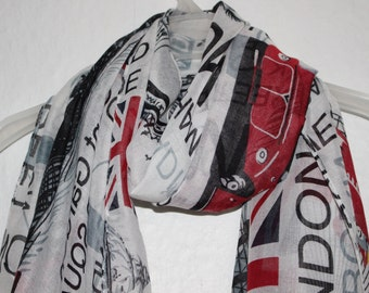 London Scarf, Souvenir Scarf, City of London, United Kingdom, UK, England, Spring, Summer, Autumn Scarf, Multi Colour Scarf, Casual,