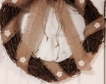 Grapevine Wreath decoratd with Burlap