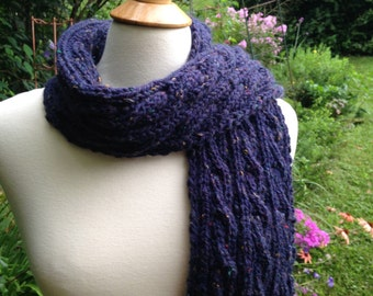 Blue Tweed Cabled Scarf - Wool - Hand Knit