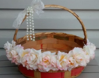 Flower Girl Basket, Shabby Chic Basket, Wedding Accesory