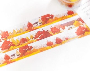 10m autumn countryside washi tape, fall trees and leaves planner tape