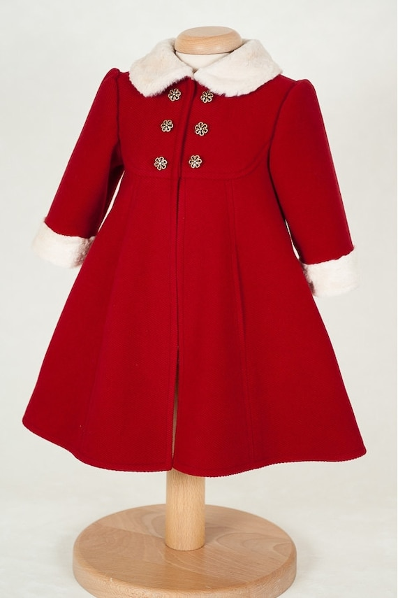 Natalie Baby Girl Coat Red Coat for Girls Girl Elegant Coat