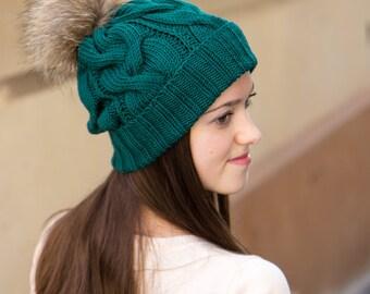 Pom Pom Beanie Hat - Knit Hat For Winter - Knit Slouchy Hat - Green Winter Hat Women - Wool Winter Hat - Ladies Hats