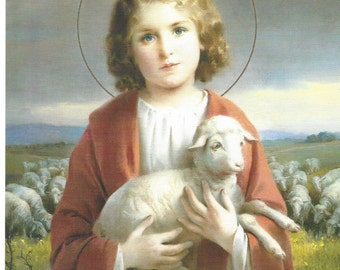 "Child Jesus the Good Shepherd Catholic Christian picture Print  - 8"" x 10"" art ready to frame"