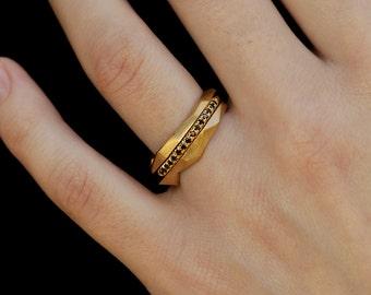 Wedding Rings Set, 3 Stackable rings Set, Geometric Rings Set, 14K Gold Black Diamonds Stacked Rings Set, Ring Set, Three Rings, RG-1074