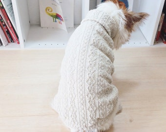 "Dog clothes ""Aran pattern"" Knit fabrics -Oatmeal-"