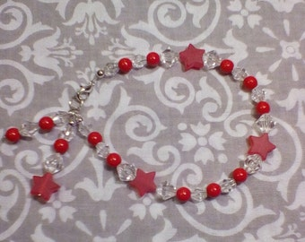 RED FROSTED STAR Beaded Bracelet
