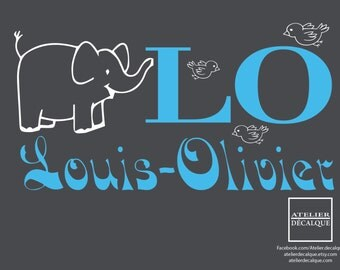Wall decal no. S-023 - Baby elephant with your child's name - Decal