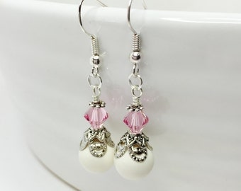 Set of 5 Pink Crystal Drop Earrings Ivory Pearl Dangles Swarovski Crystal Pink Bridesmaid Gift Vintage Style Drops Mother of the Bride