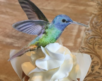 Edible Hummingbirds, 3-D Triple-Sided Wafer Paper Toppers for Cakes, Cupcakes or Cookies - Set of 4