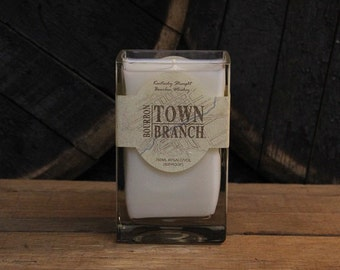 Upcycled Town Branch Bourbon Candle - Recycled Bourbon Bottle Candle Handmade Soy Candle 750ml Recycled Glass Bottle 18oz Soy Wax Man Candle