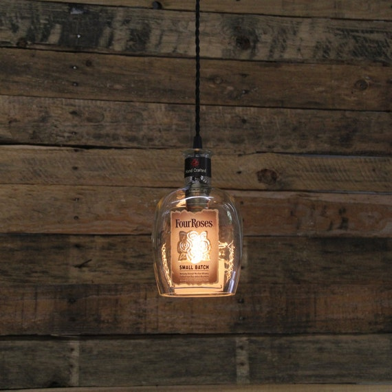 Four Roses Small Batch Pendant Light, Industrial Ceiling Light Fixture, Handmade Hanging Lamp, Bar Lighting, Restaurant Light, Kitchen Light