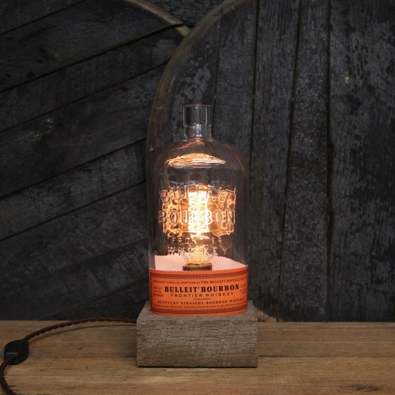 Handmade Recycled Bulleit Bourbon Bottle Lamp - Features Reclaimed Wood Base, Edison Bulb, Twisted Cloth Wire, In line Switch, And Plug