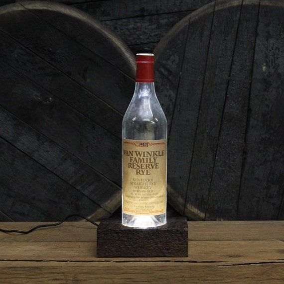 Van Winkle Rye Bourbon LED Light / Reclaimed Wood Base & LED Desk Lamp / Handmade Tabletop Lamp / Upcycled Bourbon Bottle Lighting / Custom