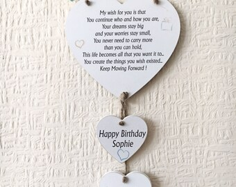 Birthday Friendship Best Friend Heart Gift Plaque Personalised Wodden Card W251