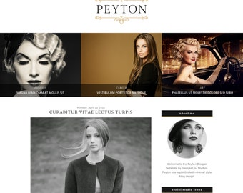 "Responsive Blogger Template Premade Blog Theme - Customizable - Black and Gold - ""Peyton"" - Slider and Drop downs - Instant Digital Download"