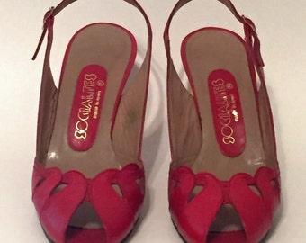 Vintage Red Peeptoe Heels