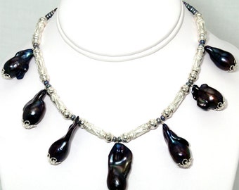 BN066- Large Black Nucleus Freshwater Pearl and intricate filigree Silver bead necklace, and matching earrings set