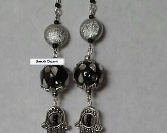Black mother of pearl Khamsa dangle earrings