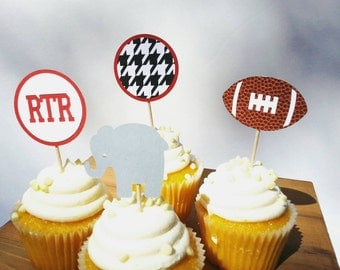 12 count ALABAMA FOOTBALL tailgate roll tide gameday houndstooth bama cupcake toppers