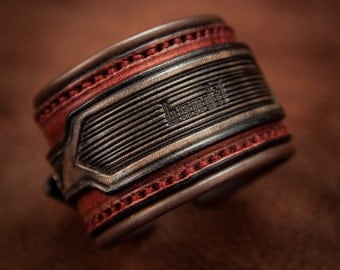Red leather cuff bracelet rock style lined - Made by Bandit
