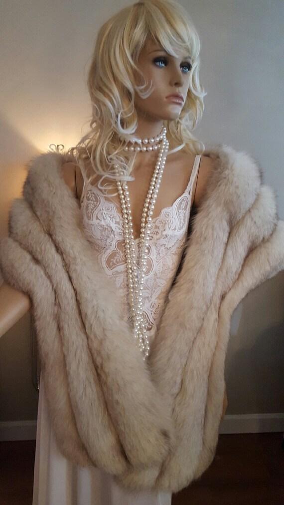 Luxury vintage norwegian fox fur stole fur shawl bridal - Stoel fur ...