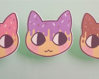 Cat brooch pin - Sweet donut cats - cat jewelry