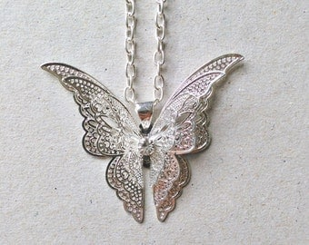 Silver Butterfly Necklace + Free Shipping - butterfly jewelry, butterfly charm, elegant jewelry, silver butterfly, butterfly pendant