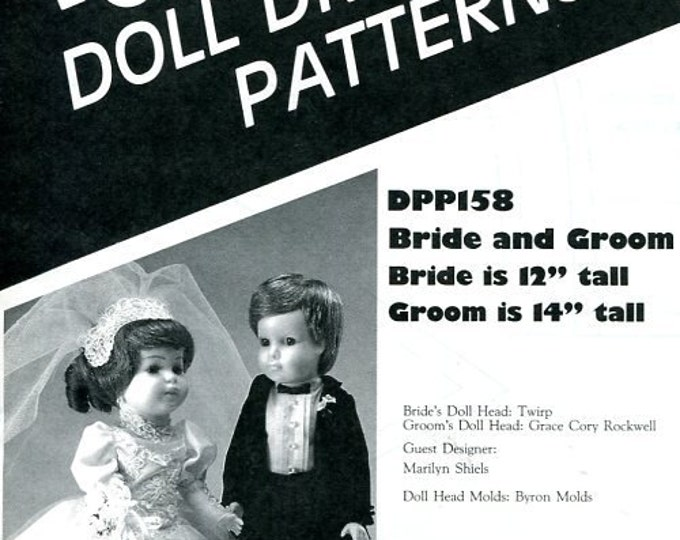 "FREE US SHIP Poissot Doll Dress Pattern dpp158 Bride Groom Wedding Dolls 12"" 14"" 1989 Vintage Insert From Dollcrafter Vintage Magazine"