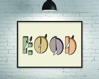 Retro print, retro art, gift for a cook, food lover gift, food graphic, food illustration, food design, font graphic, food, word food, print