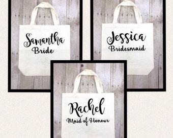 Bridesmaid Tote Bag, Personalized Bridal Party Gift, Bridesmaid Reusable Tote Bag, Maid of Honour Gift Reusable Bag Wedding Favours