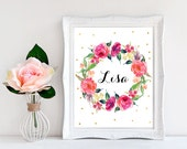 Baby name signs Baby niece gift Floral name Name wall art Little girl bedroom decor Name poster Baby girl name sign Printable door sign Lisa