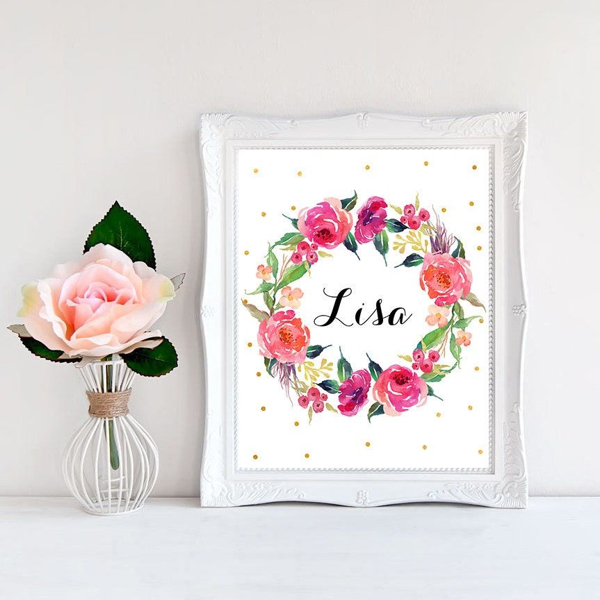 Baby name signs Baby niece gift Floral name Name wall art Little girl  bedroom decor Name poster Baby girl name sign Printable door sign Lisa. Bedroom door sign   Etsy