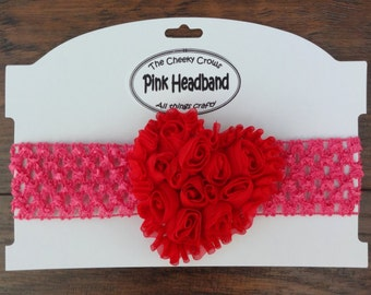 Valentines Day Headband, Pink Headband, Heart Headband, Pink Red Headband, Baby Valentines Headband, Infant Headband, Toddler Headband