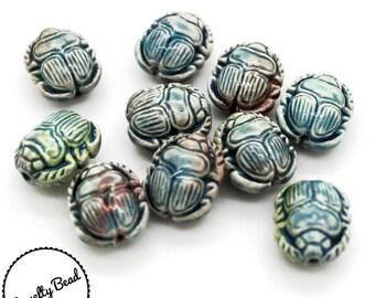 10 - Small - Raku Scarab Beads - Egyptian - Novelty - Ceramic - Peruvian Beads
