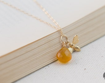 Adorable Honeybee with Chalcedony Necklace in Gold – for Her, byJTSjewelry
