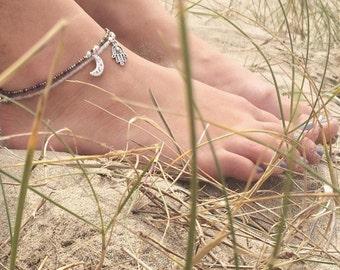 Boho Hamsa & Moon Pack of 2 Anklets/Bracelets 5 Sizes, Grunge Jewellery, Fatima Boho Jewellery, Gift for Her, Boho Anklet, Boho Bracelet
