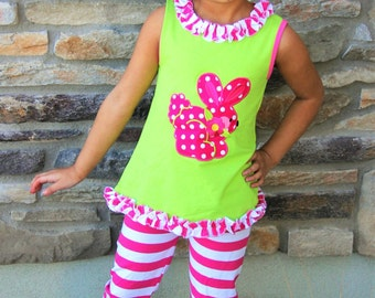 Toddler Girls Easter Bunny Lime Green Hot Pink Ruffled Capri Pant Boutique Outfit Photo Shoot Pageant 6/12M to 8/9Y