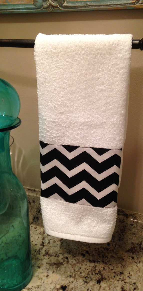 Items Similar To Hand Towel One Black White Chevron Bathroom Hand Towel Kitchen Hand Towel