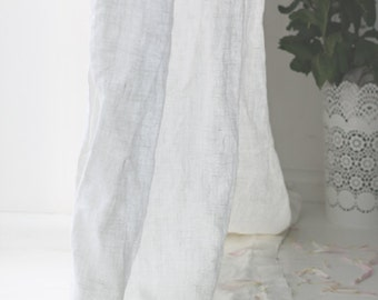 Natural linen curtains, white linen curtains, linen curtains with ties, linen window curtain, custom linen curtains, linen window drapes