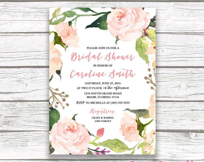 Pink Boho Floral Wreath Bridal Shower Invitation, Watercolor Rose Flower Wedding Shower Invite, Printable Invitation