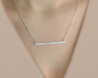 Diamond Bar Necklace, Crystal CZ Bar Necklace, Sterling Silver, Gold, Rose Gold, Delicate Necklace, bridal necklace, bridesmaid, mothers day