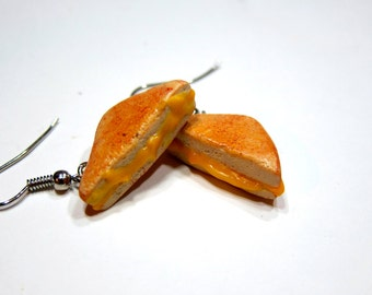 Grilled Cheese Earrings, Polymer Clay Miniature Food Jewelry