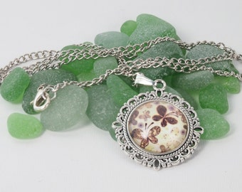 Cameo pendant with images of butterflies. Pendant with silver chain. Womens Pendant