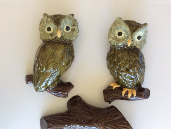 Vintage Owl Decor Hand Painted Ceramic Wall Grouping