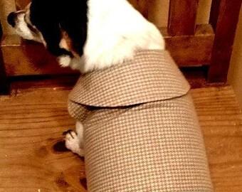 Tan Herringbone Dog Harness Vest with Collar