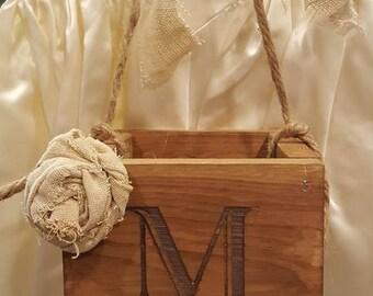 Rustic Flower Girl Basket, Rustic Wedding, Personalized Flower Girl Basket